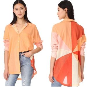 Free People orange contrast panel button up shirt
